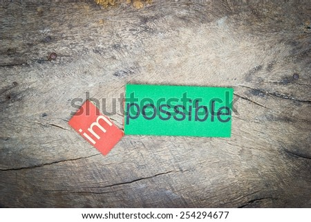 Changing the word impossible transformed into possible. Conceptual of successfully overcoming problems.  - stock photo