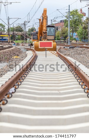 Changing tracks on a railway line - stock photo