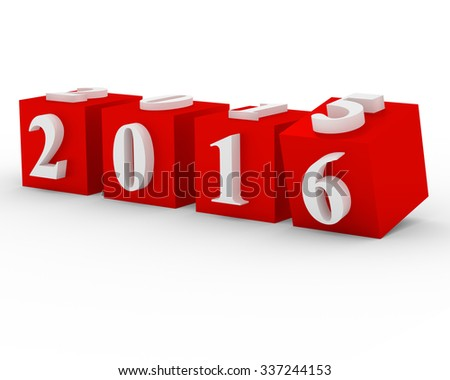 Changing years. 2015 changes in 2016 on the red cubes - stock photo