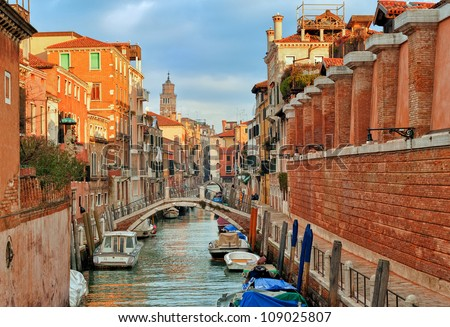 Channel in Venice, Italy - stock photo