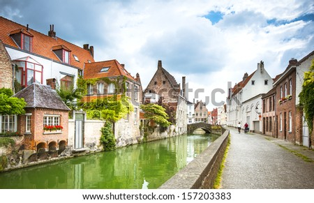 Channels of Bruges. Belgium - stock photo