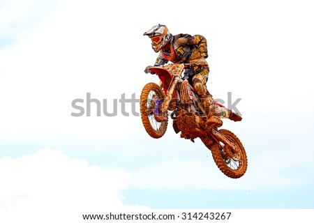 CHANTHABURI, THAILAND - NOV 25: Unidentified rider participates no.7 in the final round of the 2012 thailand motocross championship on November 25, 2012 in Chanthaburi, Thailand. - stock photo