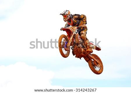 CHANTHABURI, THAILAND - NOV 25: Unidentified rider participates no.7 in the final round of the 2012 thailand motocross championship on November 25, 2012 in Chanthaburi, Thailand. - stock photo