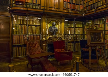CHANTILLY, FRANCE - MAY 14, 2015: This is internal residential apartments Chantilly castle. Conde Library. - stock photo
