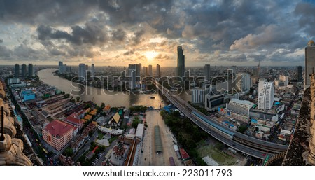 Chao Phraya River in panoramic view. Bangkok, Thailand. - stock photo
