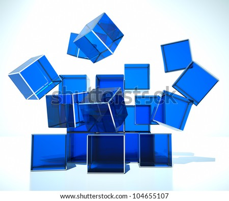 chaos and collapsible, on a white background - stock photo