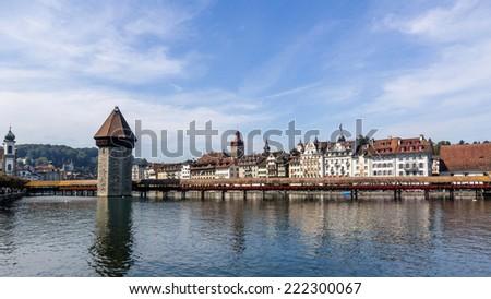 Chapel bridge and Lucerne cityscape, Switzerland  - stock photo