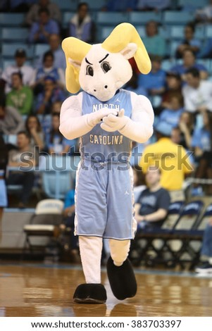 CHAPEL HILL, NC-FEB 28: University of North Carolina Tar Heels mascot performs at the game against the Duke Blue Devils on February 28, 2016 at Carmichael Arena. - stock photo