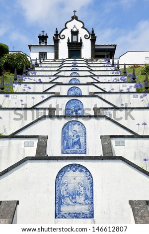 Chapel of Our Lady of Peace above the city of Vila Franca do Campo, Sao Miguel, Azores - stock photo