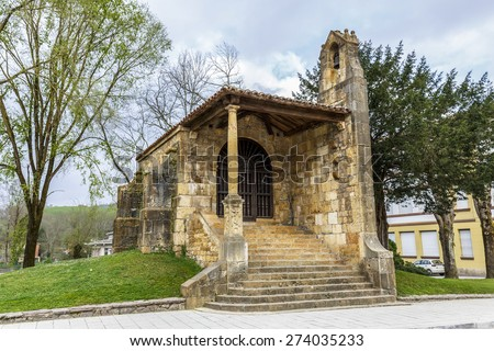 Chapel of the Holy Cross in Cangas de Onis Asturias. Spain - stock photo