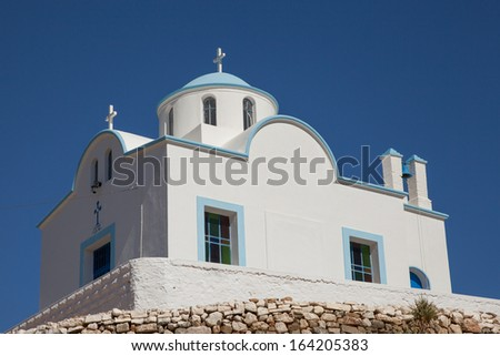 chapel on the greek island Karpathos - stock photo