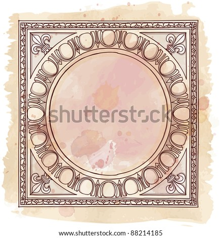 Chapiter- hand draw sketch doric architectural order & vintage watercolor background. Bitmap copy my vector id 87989026 - stock photo