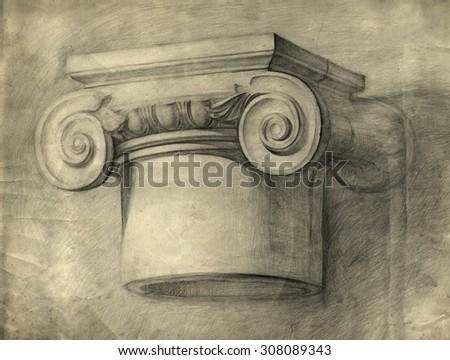 Chapiter study - stock photo