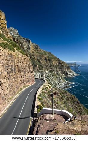 Chapman's Peak, road along the coast near Cape Town, South Africa - stock photo