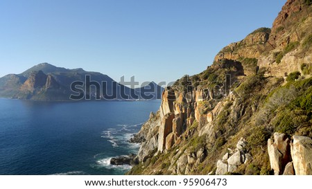 Chapmans Peak drive overlooking Hout Bay, Cape Town; South Africa - stock photo