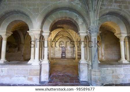 chapter house of the monastery of Veruela, Zaragoza, Aragon, Spain - stock photo