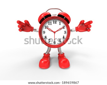 character alarm clock, isolated on white background - stock photo