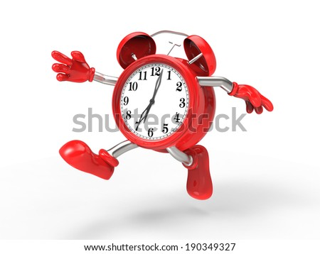 character alarm clock run, isolated on white background - stock photo