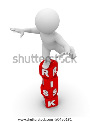 character balancing on a boxes with word risk - stock photo