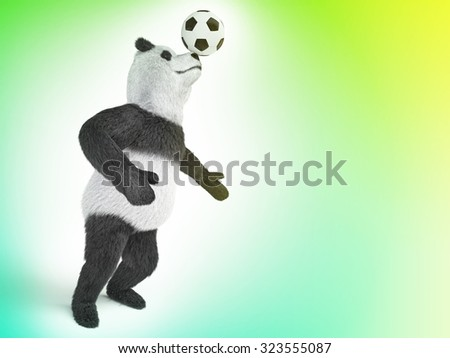 character circus bamboo bear giant panda standing spreading legs to the sides chasing a ball on his nose. involuntary amazing animal on green gradient background - stock photo