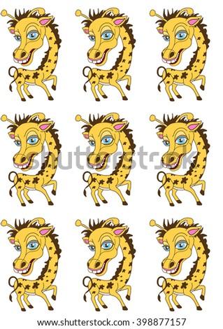 Character. Giraffe. Cheerful giraffe. Animal. Cloven-hoofed animals. - stock photo