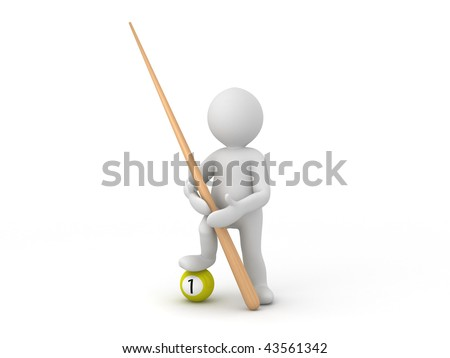 Character holding a cue and standing with one foot on billiard ball - stock photo