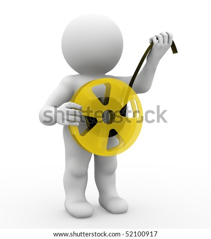 character holding a film reel - stock photo