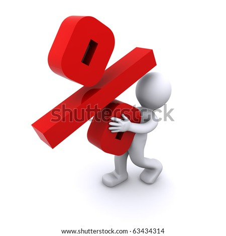 character holding red percent mark - stock photo