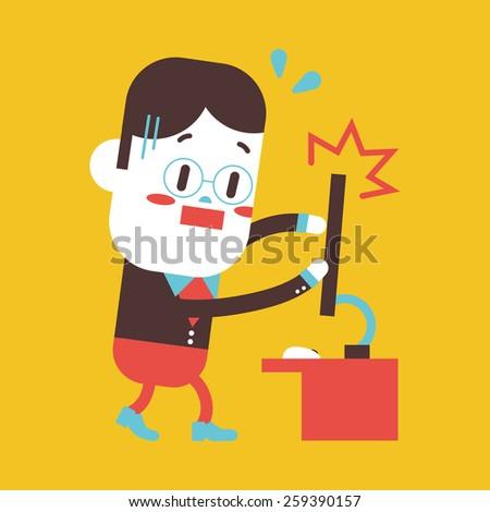 Character illustration design. Businessman broken computer cartoon - stock photo