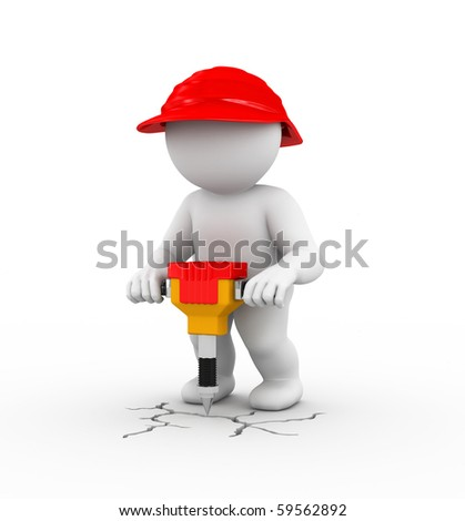 Character is working  with jackhammer - stock photo
