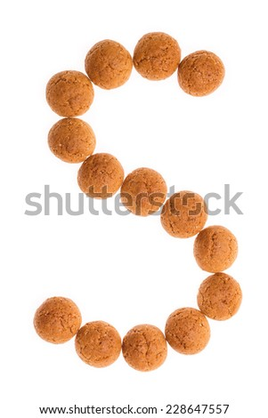 Character, letter S for Sint with pepernoten. A traditional dutch treat for Sinterklaas on 5 december. Cookies isolated on white background. - stock photo
