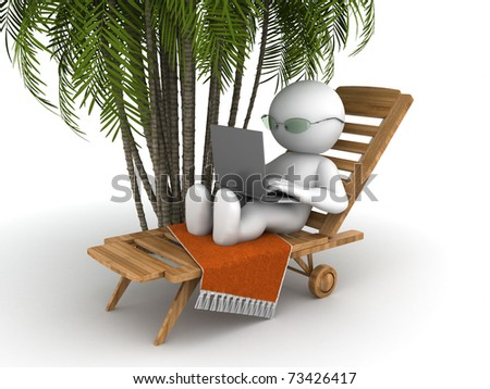 Character resting on a deck chair and works with a laptop - stock photo