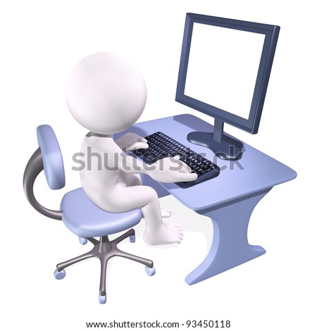 character sitting at a desk - stock photo
