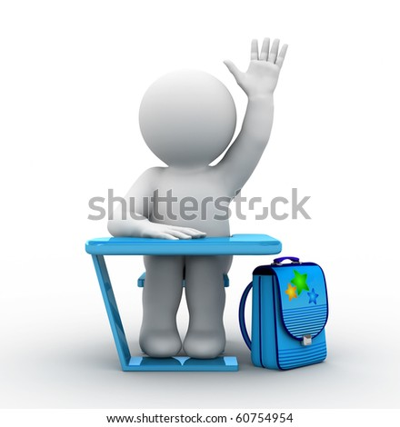 character sitting by school desk - stock photo