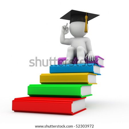character sitting on the top of book's heap - stock photo