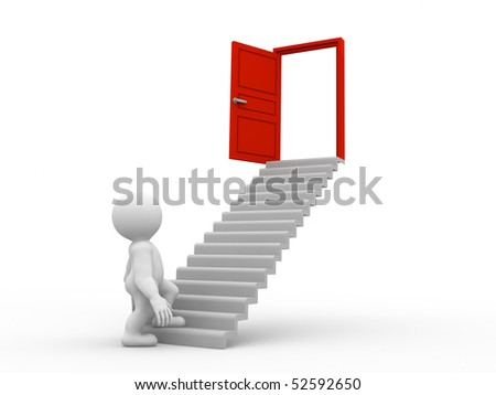 character standing on a stairway whick leads to success - stock photo