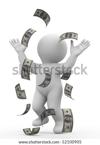 character standing under rain of money - stock photo