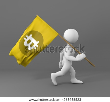 Character walking and holding a bit coin symbol yellow flag on a gray background 3d illustration - stock photo