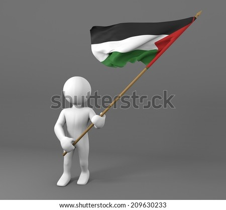 character waving flag of palestine, in the wind - stock photo