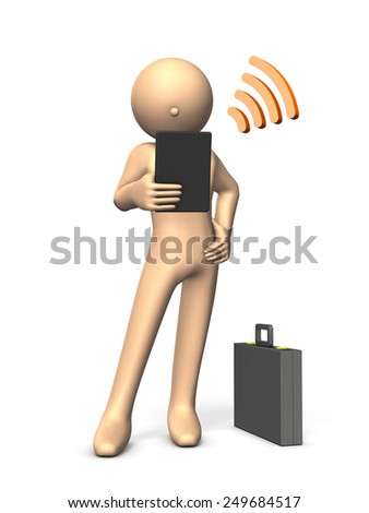 Character with a tablet terminal. - stock photo