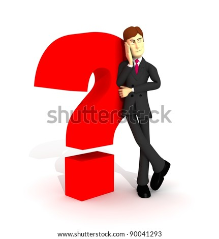 character with suit lining in question symbol - stock photo