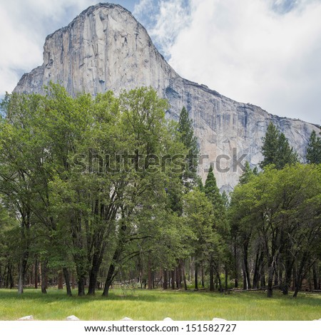 Characteristic huge rocky mountains of granite, at Yosemite National Park in California, USA America - stock photo