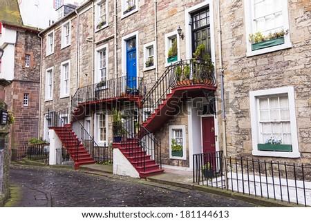 Characteristic neighborhood of edinburgh. - stock photo