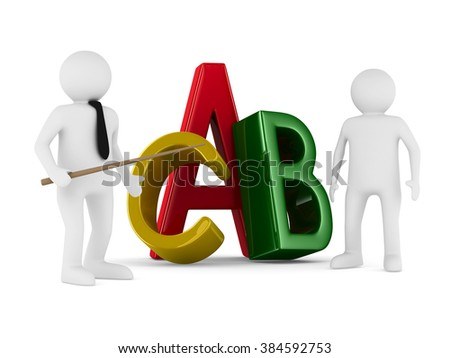 Characters on white background. Isolated 3D image - stock photo
