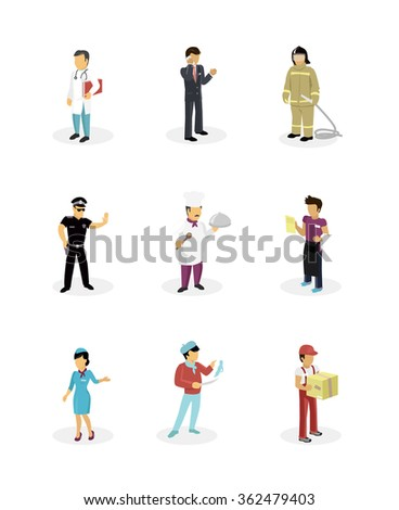 Characters set popular professions. Stewardess and doctor, artist and fireman, waiter and policeman, cook and businessman, occupation people, job and career. People isolated on white. Raster version - stock photo