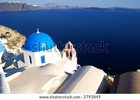 Charch on Santorini island, Cyclades, Greece - stock photo