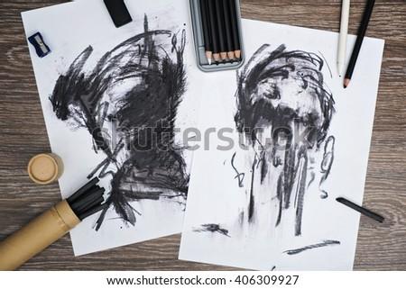 charcoal art - stock photo