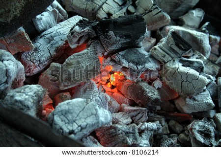 Charcoal, Barbecue fire  - ready for the meat !!! - stock photo