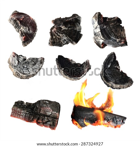 Charcoal, carbonize, carbon. isolated on white background. This has clipping path. - stock photo