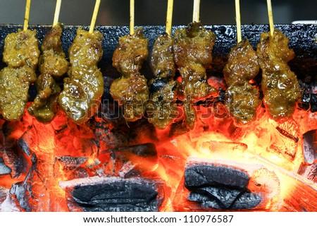 Charcoal Grill Satay - stock photo